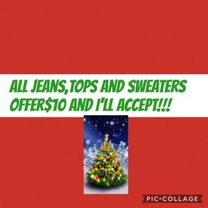 Offer $10 on sweaters, jeans and tops